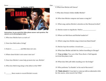 Movie guide la bamba answers