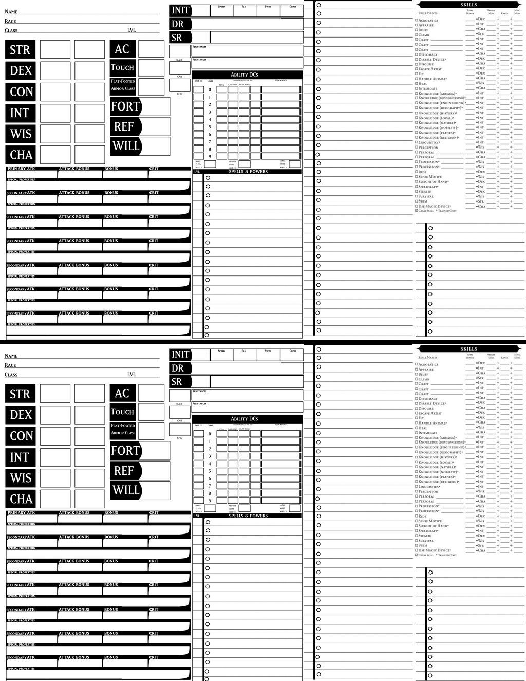 Dungeons and dragons pathfinder character sheet pdf