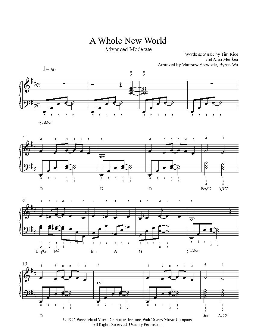 A whole new world piano sheet music pdf